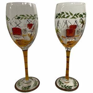 2 Hand Painted Long Stem Wine Glasses Elephants
